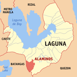 Map of Laguna showing the location of Alaminos
