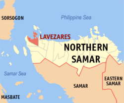 Map of Northern Samar with Lavezares highlighted
