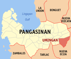 Map of Pangasinan with Umingan highlighted