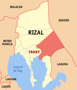 Map of Rizal showing the location of Tanay