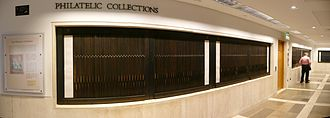 British Library Philatelic Collections - A panoramic view of the collections on display.