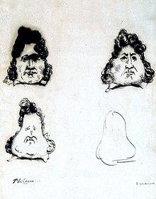 Verwandlung des Königs Louis-Philippe in eine Birne, Karikatur von Charles Philipon, vermutlich 1831 (Quelle: Wikimedia)