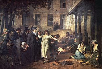 Psychiatry - Dr. Philippe Pinel at the Salpêtrière, 1795 by Tony Robert-Fleury. Pinel ordering the removal of chains from patients at the Paris Asylum for insane women.