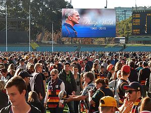 Adelaide Football Club - Fans gather at Adelaide Oval to pay tribute to Phil Walsh.