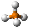 Ball and stick model of phosphonium
