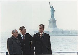 Russia–United States relations - Soviet leader Mikhail Gorbachev meeting with Ronald Reagan and President-elect George H. W. Bush in New York City in December 1988