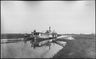 Hennepin Canal Parkway State Park - The steamer Marion with Rambler in tow at Aqueduct number 4, 1908