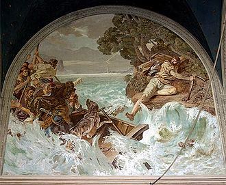 Tellskapelle - Tell's leap (Tellensprung) from the boat of his captors at the Axen cliffs, fresco by  frescos by Ernst Stückelberg, 1880-1882.