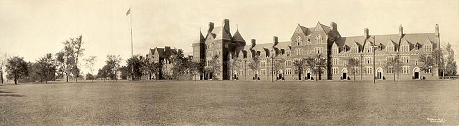 Trinity College in 1909, showing the Long Walk and three attached buildings: Northam (center), Jarvis (right), Seabury (left) PictureHartfordCTTrinityCollegePanorama1909.jpg