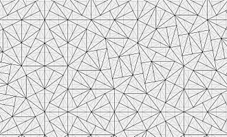 Pinwheel tiling - A pinwheel tiling: tiles can be grouped in sets of five (thick lines) to form a new pinwheel tiling (up to rescaling)