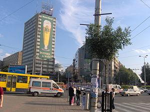 """Slavija Square - Slavija Square - looking towards """"Jat Airways Slavija Hotel"""" (centre) and Slavija Lux (far right)"""