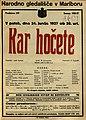 Plakat za predstavo Kar hočete v Narodnem gledališču v Mariboru 24. junija 1927.jpg