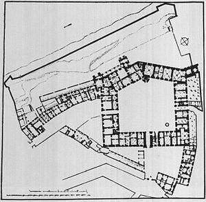 Royal Castle, Warsaw - Plan of the Royal Castle in Warsaw at the beginning of the 17th century.
