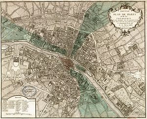 Historical geography - A 1740 map of Paris.