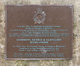 United Counties of Stormont, Dundas and Glengarry - Plaque to the SDG Highlanders heroes at ''Juno Beach, Calvados, Normandy, France.