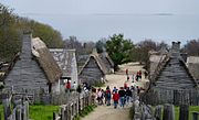 Plimoth Plantation, with Cape Cod Bay visible in the distance