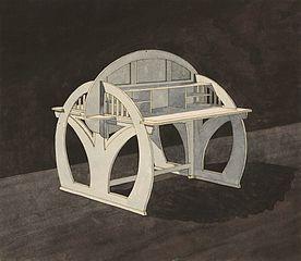 Secesyjne biurko o dwóch blatach
