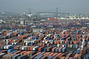 Port of Long Beach - Port of Long Beach, Container terminal, with the Vincent Thomas Bridge in the back bround