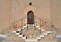 Porta i escales de la torre de les campanes de Xèrica.JPG