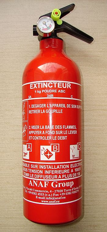English: Portable fire extinguisher with manom...