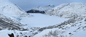 Portage Lake (Alaska) - Portage Lake as viewed from near the terminus of Burns Glacier. Portage Glacier is visible on the left.