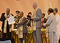 Pranab Mukherjee presenting the Honoris Causa D (Science) to the eminent Indian Physicist, Prof. Bikash Sinha, at the 5th convocation of National Institute of Technology, at Agartala, in Tripura. The Governor, Tripura.jpg