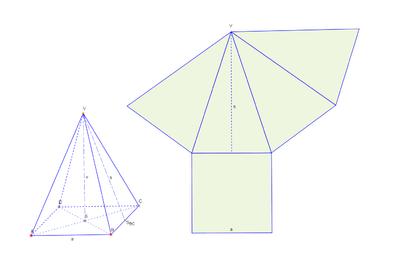 Schrägbild und Netz einer Pyramide