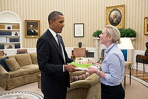 Anita Decker Breckenridge - Image: President Barack Obama presents a birthday cake to Personal Secretary Anita Decker in the Oval Office