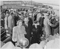 President Truman poses with his wife and daughter, Bess and Margaret Truman, at the airport in Washington, D. C.... - NARA - 199780.tif