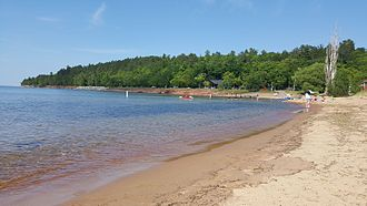 Marquette, Michigan - Lake Superior shoreline at Presque Isle Park in July