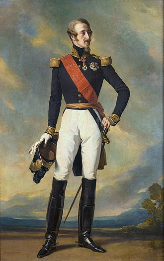 Sash - Prince Louis, Duke of Nemours wearing a red sash (Legion of Honour) together with his ceremonial military uniform. Date 1840s.