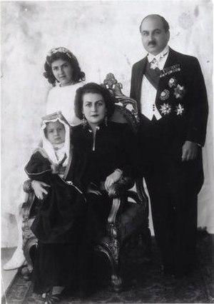 Princess Fahrelnissa Zeid - Prince and Princess Zeid Al-Hussein with their children Princess Shirin and Prince Raad, in Baghdad (1938)