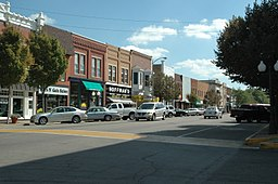 none View of south historic Main Street district in Princeton, Illinois.