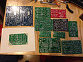 Printed circuit boards of various Synth DIY kits (2014-07-27 18.16.08 by Scott Young).jpg