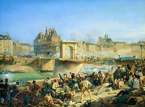 July Revolution - Taking of the Hôtel de Ville (revolutionaries went there in 1789, and later 1848 and 1870), by Amédée Bourgeois