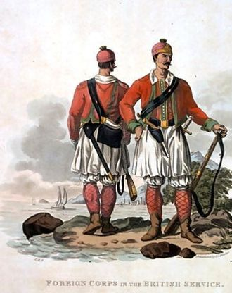 "Charles Hamilton Smith - ""Privates of the Greek Light Infantry Regiment"" from Costumes of the Army of the British Empire"
