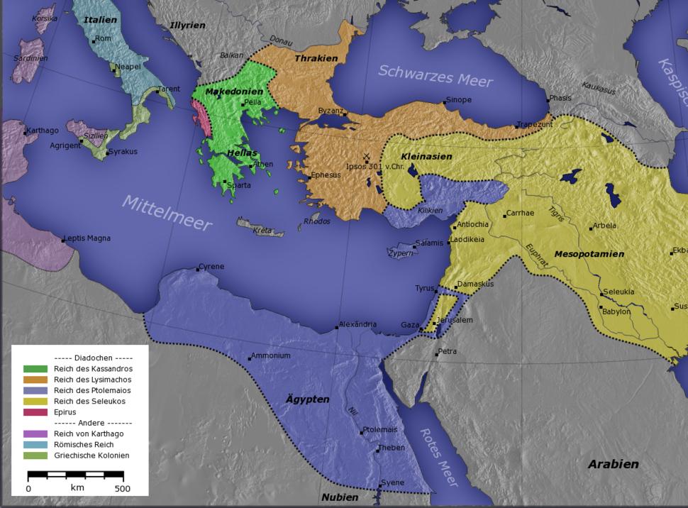 Ai Cập thuộc Hy Lạp vào năm 300 trước Công Nguyên (màu xanh)