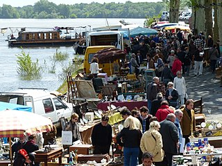 Antiques market in France, Loire Valley.