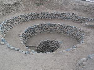 Puquios - An entrance to the Puquios, near Nazca, Peru
