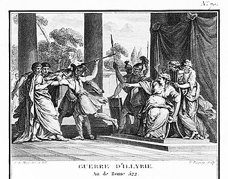 Illyrian Wars - Queen Teuta orders her guards to murder the Roman envoys - Augustyn Mirys