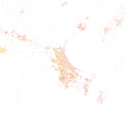 Map of racial distribution in Corpus Christi, 2010 U.S. Census. Each dot is 25 people: White, Black, Asian, Hispanic or Other (yellow) Race and ethnicity 2010- Corpus Christi (5559868633).png