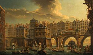 Pont Notre-Dame - La joute de mariniers entre le pont Notre-Dame et le Pont-au-Change, by Nicolas-Jean-Baptiste Raguenet, 1756, clearly shows the houses atop the bridge.