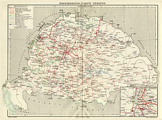 Hungarian State Railways - Railway network of Kingdom of Hungary in 1913, Red lines represents the Hungarian State Railways, blue, green and yellow lines were owned by private companies