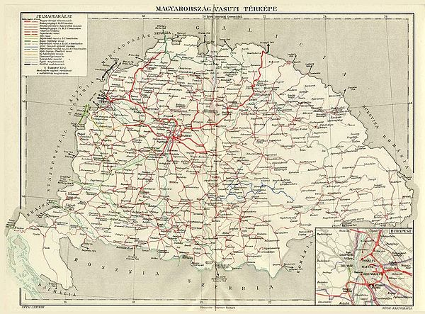 Railway network of the Kingdom of Hungary in 1913, with red lines representing the Hungarian State Railways, while blue, green and yellow lines were owned by private companies Railways Croatia-Slavonia and Hungary.jpg