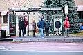 Raised bus stop in Everett, December 2018.jpg