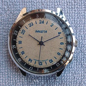 24-hour analog dial -  A 24-hour watch made by Russian watchmaker Raketa; note that the time shows 20:10 which, if on a 12-hour watch, would show 8:10 pm