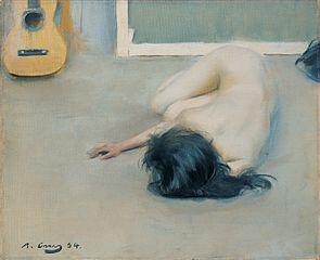 Nu femení amb guitarra