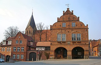 Gadebusch - Town hall and the church