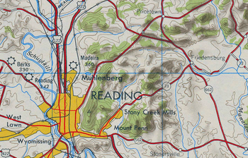 A 1947 topographic map of the Reading, Pennsyl...