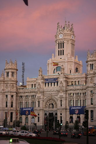 Madrid Derby - During the 2014 UEFA Champions League Final between Atlético and Real, the City Council of Madrid building was decorated in banners of both clubs.